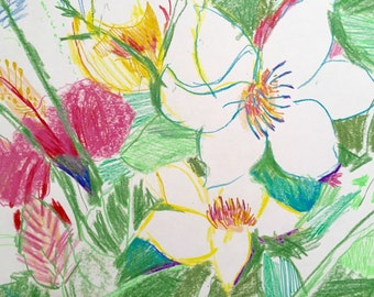 Original Drawing Assortment Of Flowers Floral And Gardens 14 X 16.5 In. Signed