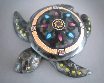 Keepsake Box, Sea Turtle Decor, Black Marble Box, Polymer Clay, Turtle Art, Handmade Box, Home Decor, Turtle Wall Decor, Native American