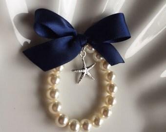Flower Girl starfish charm bracelet, beach wedding bracelet,  custom made flower girl gift with any ribbon color