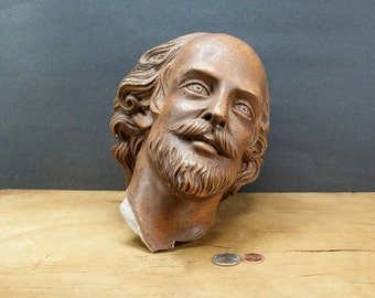 Head of Shakespeare Vintage Plaster Broken Bust Statue Chippy Piece 1970s Unique Statuary for Display Assemblage Art Man Beard Bearded Brown