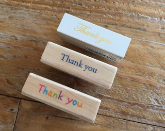 """Pretty Japanese """"Thank You"""" Wooden Rubber Stamp for Cards, Invitations, Tags, Scrapbooking, Packaging, Party Favors"""