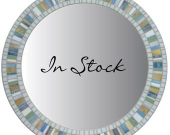 Round Mosaic Wall Mirror - Porcelain White, Gray, Tan, Blue, Green