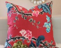 Schumacher Elizabeth Multi Rouge, Schumacher Fabric, Schumacher Pillow, Chintz Fabric, Chintz Print, Floral Fabric, Floral Pillow