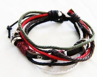 Leather Cuff Boho Bracelet, bohemian, boho bracelet  B002