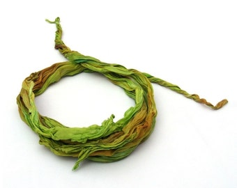 Green hand painted scarf  silk headband fashion crinkle ombre leaves gift ideas for women