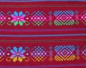 Ethnic Mexican Colorful Bright Red Striped Fabric Yard Cambaya