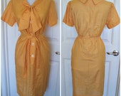 Vintage 1960s gingham house dress, with belt and tie