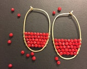 Red Coral and Gold Hoop Earrings