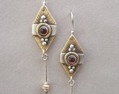 Tribal sterling silver, brass and garnet earrings: Bali-inspired, silver, brass, and garnet tribal earrings