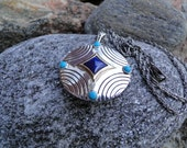 Vintage Sterling Silver Turquoise and Lapis Enhancer Pendant with Sterling Silver Chain Necklace