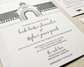 Shelburne Farms Coach Barn Wedding Invitation, Letterpress printed SAMPLE