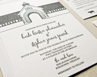 Shelburne Farms Coach Barn Wedding Invitation, Letterpress printed SAMPLE