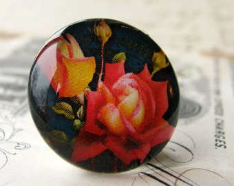 Red orange roses, flower cabochon, floral, yellow, black, handmade cabochon, glass cabochon, round 22mm cabochon, flat back image