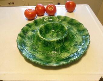 Vintage Italian Pottery Crudités Tray, Green Leaf Design