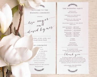 Printable Wedding Programs  | Ceremony program  | Double Sided Programs -  Style P81 - BOMBSHELL COLLECTION