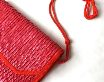 vintage 1980's red raffia envelope purse handbag shoulder bag womens fashion boho bohemian retro grass straw large rectangular natural old