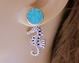 Seahorse Earrings Turquoise Druzy Stud Earrings Front Back Earrings Reverseable Beach Wedding Jewelry Stained Glass Sea Blue Earrings