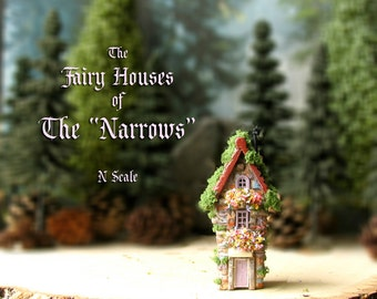 "The Fairy Houses of The ""Narrows"" - Enchanted N Scale Stone House with Flower Boxes, Mossy Tile Roof and Colorful Doors - Terrarium Decor"