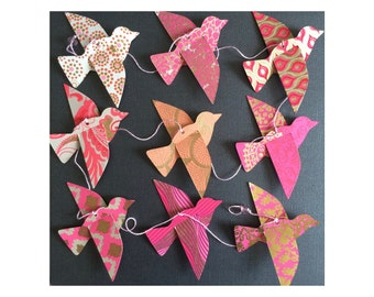 Paper Bird Garland - PINKS - Wedding Garland - Party Garland - Bird Garland - Wedding Decor - Home Decor - Party Decor - Decorative Birds