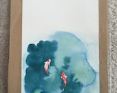 Reserved Listing (audres): Koi Pond - Original Watercolor Painting
