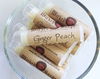 Ginger Peach Lip Balm -  Natural Lip Balm, Cocoa Butter Lip Balm, Beeswax Lip Balm