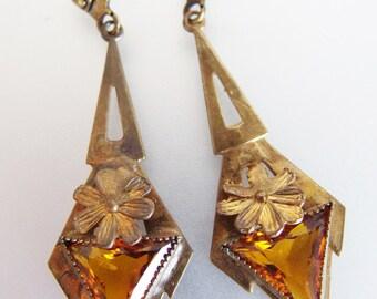 Beautiful Vintage Czech Deco Dangling Amber Glass Earrings