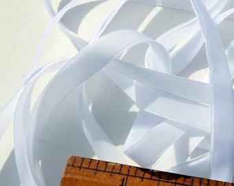 White Velvet Ribbon 3/8 inch wide 1 yard