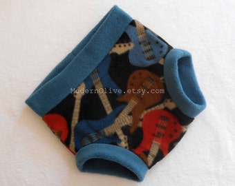 Extra Large Bass Guitar Anti-Pill Fleece Diaper or Underpants Cover (Soaker), Black Blue Brown, Ready to Ship for Potty Training XL