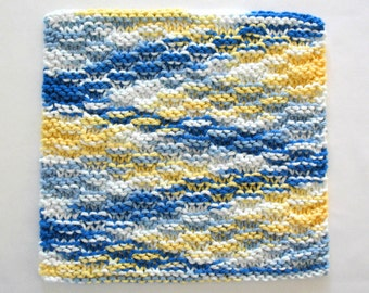 Knit Dishcloth, Cotton Knitted Dishcloth, Blue Yellow Kitchen Decor