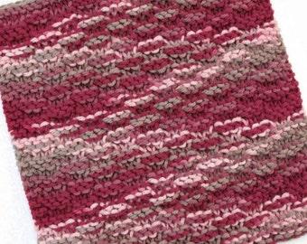 Knit Dishcloth, Cotton Dishcloth, Knit Washcloth, Burgundy Kitchen Decor