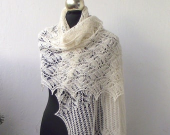 Cream lace shawl, hand knitted lace stole,off white wedding  shawl