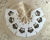 White Handpunched Owl Gift Tags - Journalling tags, Scrapbooking tags - 8 tags - 1.75 x 2.75 inches