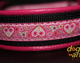 "Dog Collar ""Summerfling"" by dogs-art, martingale collar, pink dog collar, girl dog collar, leather dog collar, limited slip collar, collars"