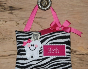 Personalized Tooth Fairy pillow Zebra---SHIPS NEXT DAY
