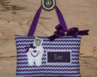 TOOTH FAIRY PILLOW Chevron Purple----Ships next day
