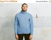 SALE . Vintage Handknit TURTLENECK SWEATER . 70s Mens Aran Knit Cable Chunky Knit Blue Turtle Neck Jumper Wool Cozy Boyfriend Gift . Small M