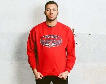 Vintage 80s USA College SWEATSHIRT . Mens 90s Iowa State University Cyclones Sports Team Red Sweater Jumper Boyfriend Gift . size Large