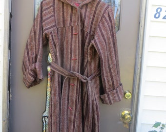 70s   Vintage boho   Hippie toggle buttons  heavy   wool blanket  hooded coat  with belt