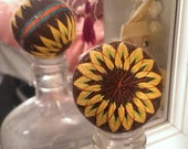 "Japanese style temari ball 5 1/2"" circumference brown w yellow sunflowers"