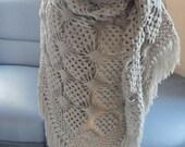 Crochet lace shawl with fringe