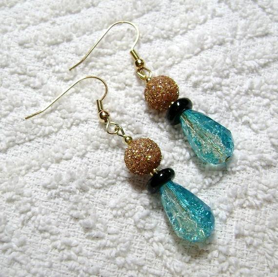 gold and blue earrings sky blue earrings earrings sky