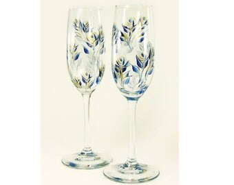 Navy and Gold Champagne Glasses, Hand Painted Navy and Gold Roses, Set of 4 - Custom 50th Anniversary Champagne Flutes
