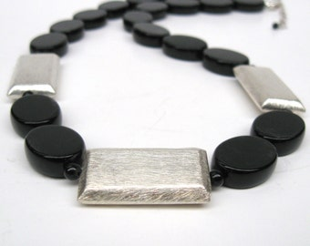 Large black onyx necklace with sterling silver, black statement necklace, long black necklace