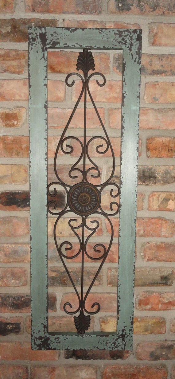 Distressed Metal Wall Decor : Framed metal wall decor distressed turquoise shabby
