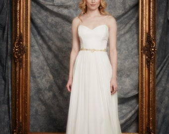 Size 10 Sample for Sale! Charlotte Gown, sweetheart neckline, low back, spaghetti strap, full chiffon skirt