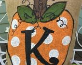Burlap Pillow Polkadot Pumpkin choose your initial