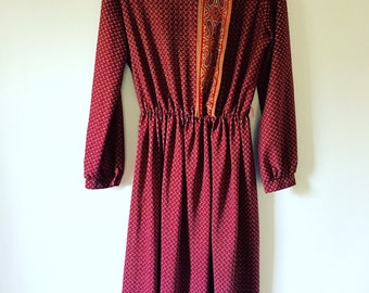 70s Ruby Red Dress • Bohemian Dress • Retro 1970s Dress