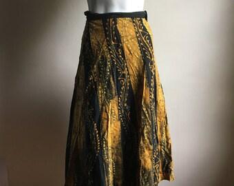 Rare 70s Vintage Wrap Skirt • 70s Cotton Skirt • Boho Skirt