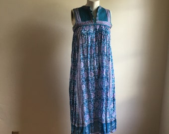 Rare 70s Smock Turquoise Blue Tent Vintage Dress • Cotton Dress • Free Size Dress • Gauze Cotton Dress