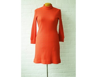 1970s Orange Cable Knit Turtleneck Dress